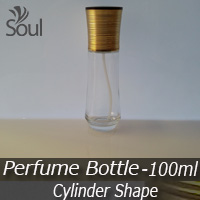 100ml Clear Cylinder Shape with Golden Brown Cap - 10Pcs