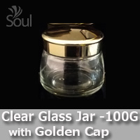 100g Clear Glass Jar with Golden Cap - 5Pcs