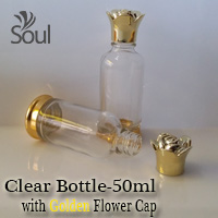 50ml Round Glass Clear Bottle G.U with Golden Flower Cap - 10Pcs