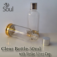 50ml Round Glass Clear Bottle G.U with Strike Silver Cap - 10Pcs