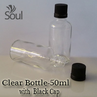 50ml Round Glass Clear Bottle with Black Cap - 10Pcs