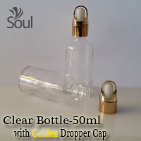 50ml Round Glass Clear Bottle with Golden Dropper Cap - 10Pcs