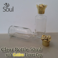 50ml Round Glass Clear Bottle with Golden Flower Cap - 10Pcs