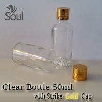 50ml Round Glass Clear Bottle with Strike Gold Cap - 10Pcs