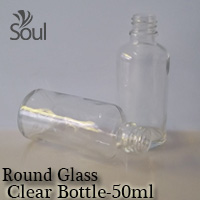 50ml Round Glass Clear Bottle- 10Pcs