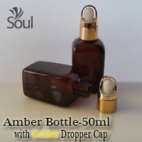 50ml Square Glass Amber Bottle with Golden Dropper Cap - 10Pcs