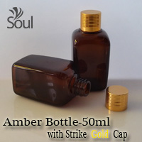 50ml Square Glass Amber Bottle with Strike Gold Cap - 10Pcs