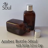 50ml Square Glass Amber Bottle with Strike Silver Cap - 10Pcs