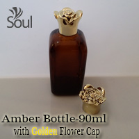 90ml Square Glass Amber Bottle with Golden Flower Cap - 10Pcs