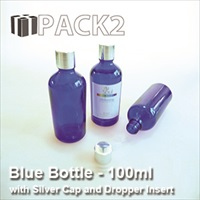 100ml Blue Bottle with Silver Cap and Dropper Insert - 10Pcs