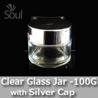 100g Clear Glass Jar with Silver Cap - 5Pcs
