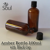 100ml Round Glass Amber Bottle with Black Cap - 10Pcs